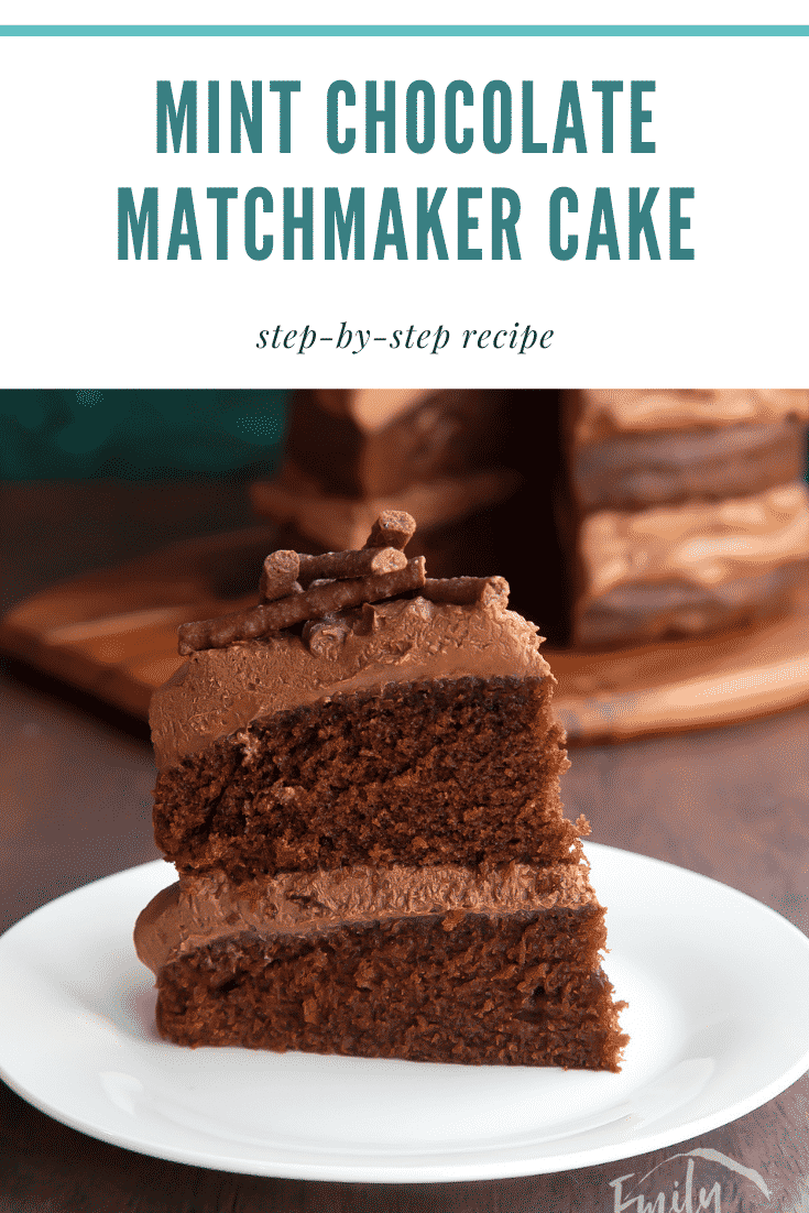 Slice of Matchmaker cake on a white plate. Caption reads: Mint chocolate Matchmaker cake. Step-by-step recipe.