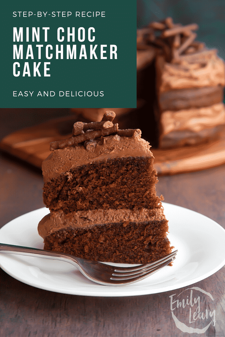 Slice of Matchmaker cake on a white plate with a fork. Caption reads: Step-by-step recipe. Mint choc Matchmaker cake. Easy and delicious.