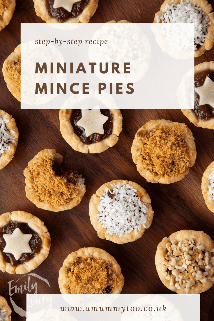 Mini mince pies on a dark wooden board, shown from above. Caption reads: Step-by-step recipe. Miniature mince pies.