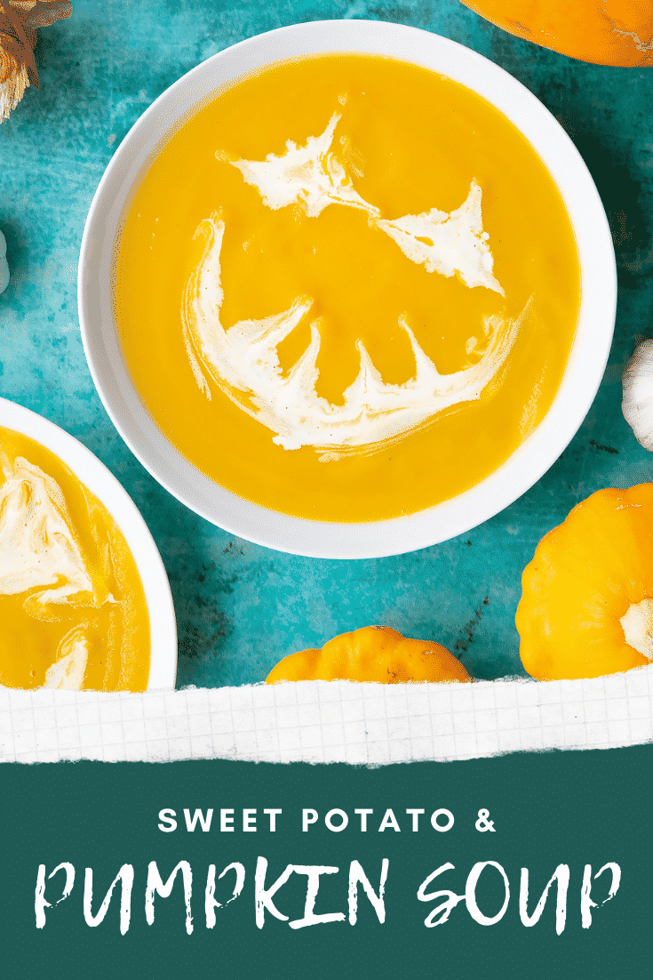 Pumpkin and sweet potato soup in a white bowl from above. The soup has cream swirled on top to resemble a jack'o'lantern. Caption reads: Pumpkin and sweet potato soup