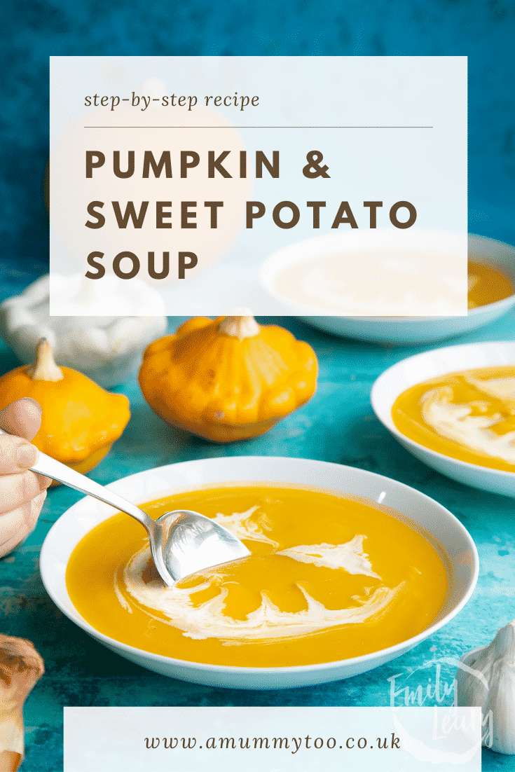 Pumpkin and sweet potato soup in a white bowl. The soup has cream swirled on top to resemble a jack'o'lantern. A hand holds a spoon, dipping into the soup. Caption reads: Step-by-step recipe. Pumpkin and sweet potato soup