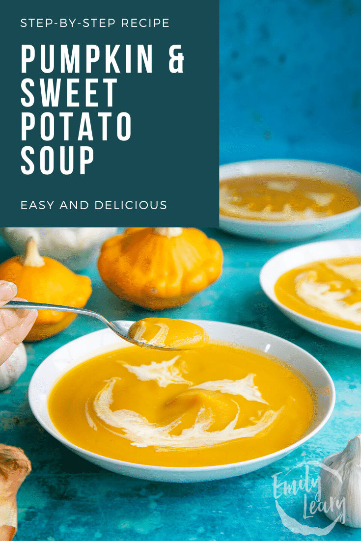 Pumpkin and sweet potato soup in a white bowl. The soup has cream swirled on top to resemble a jack'o'lantern. A hand holds a spoon, lifting some soup. Caption reads: Step-by-step recipe. Pumpkin and sweet potato soup. Easy and delicious.