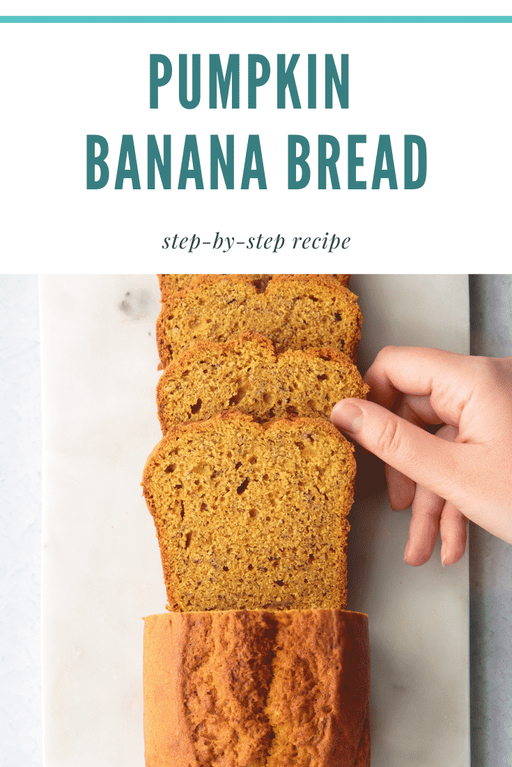 Slices of pumpkin banana bread on a white marble board. Caption reads: Pumpkin banana bread. Step-by-step recipe.