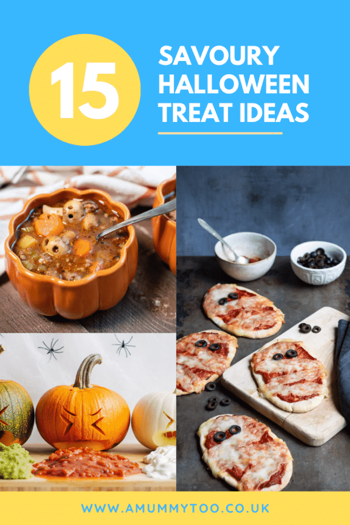 A collage of Halloween pizza, stew and taco drips. Caption reads: 15 savoury Halloween treat ideas