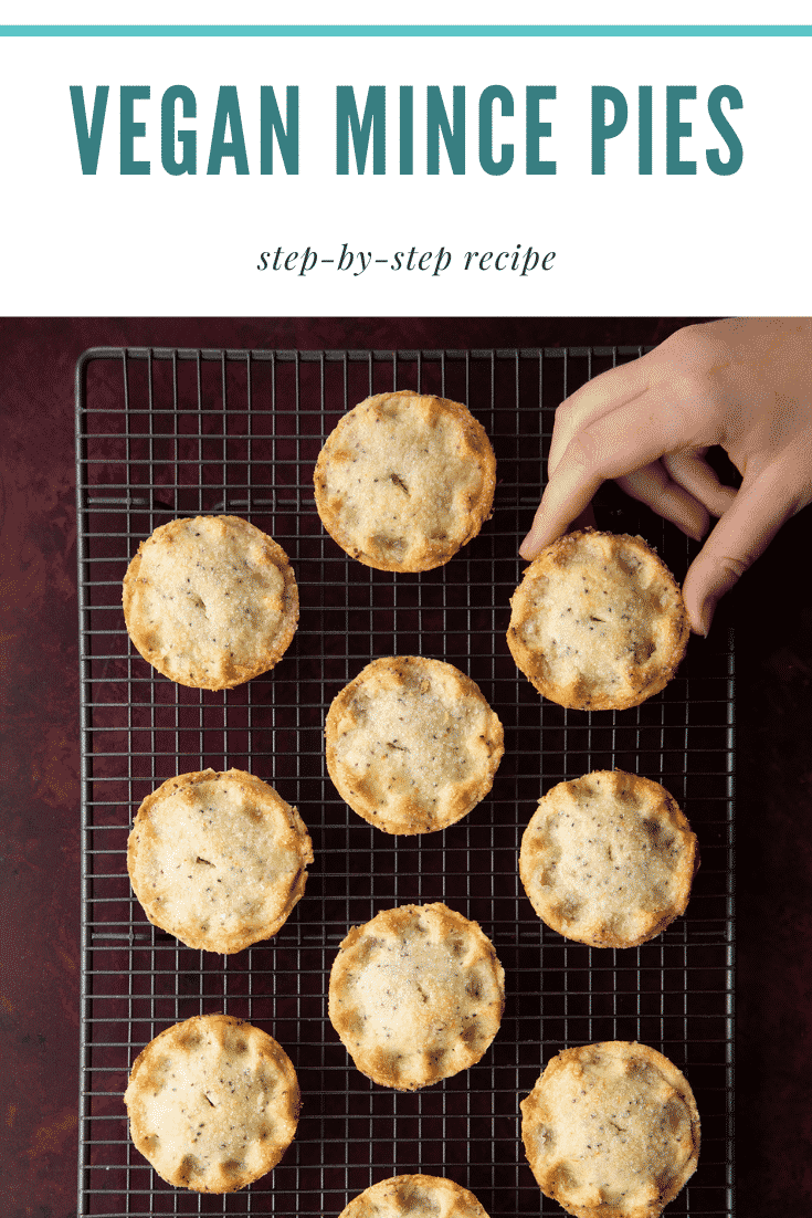 Vegan mince pies on a wire cooling rack. A hand reaches for one. Caption: Vegan mince pies. Step-by-step recipe