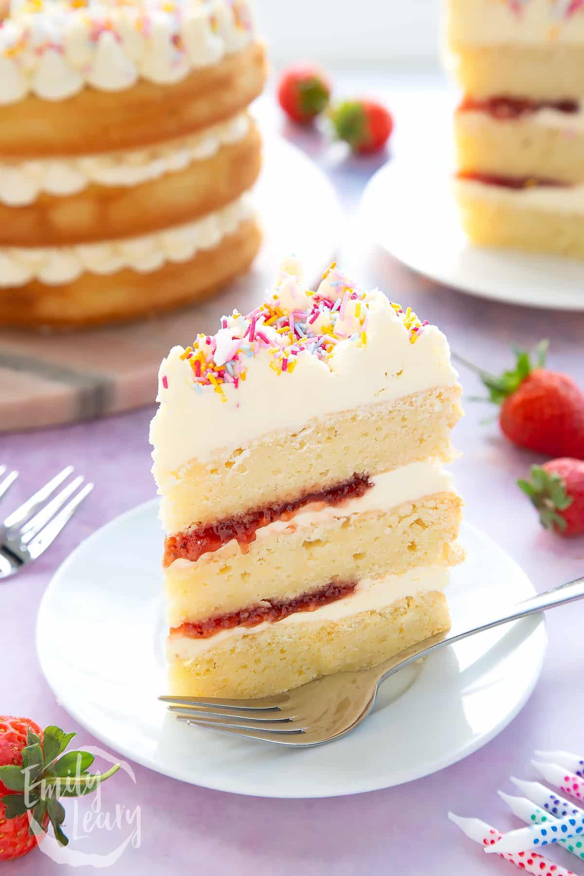 Slice of vegan birthday cake on a small white plate.
