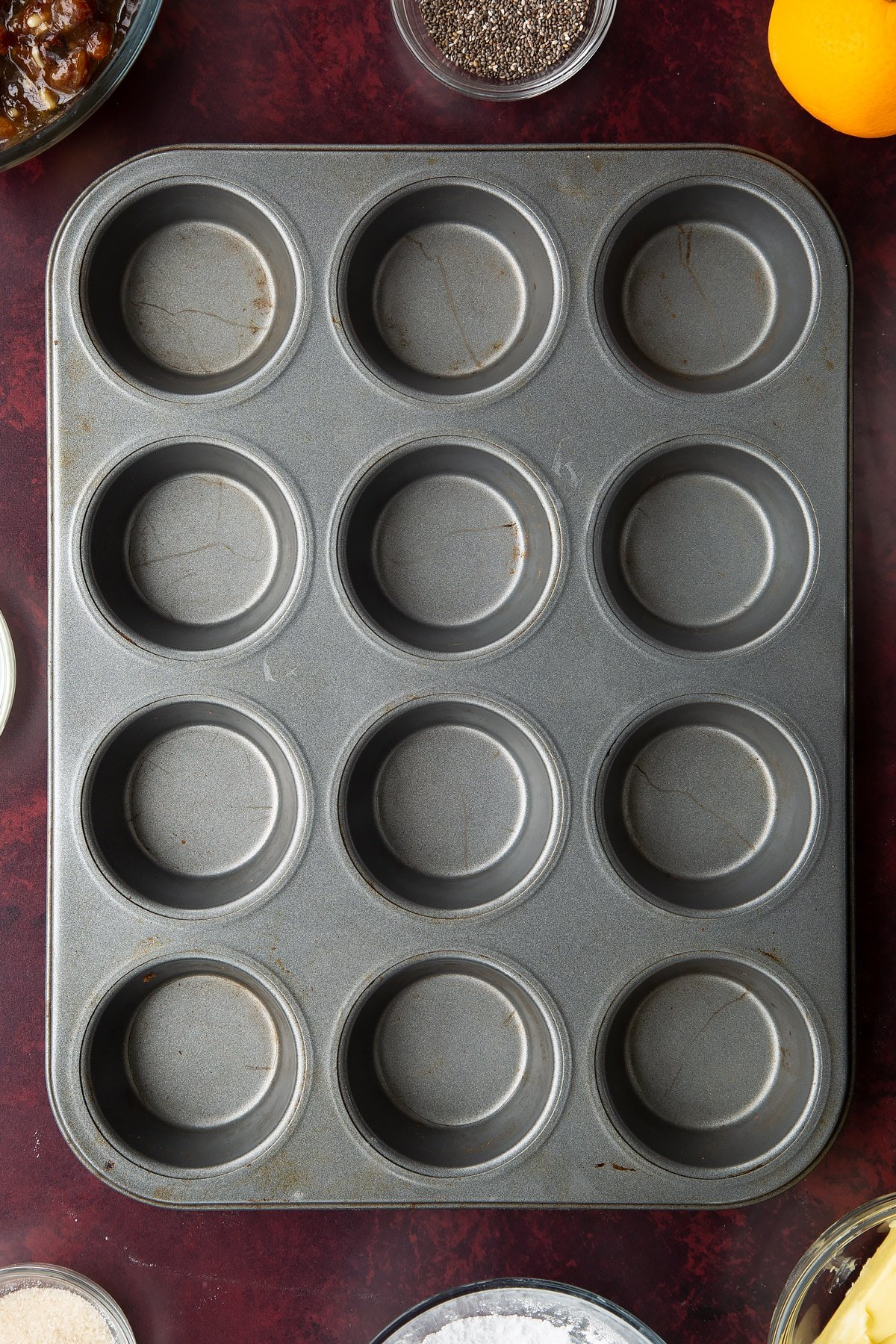 Metal 12-hole muffin tray.