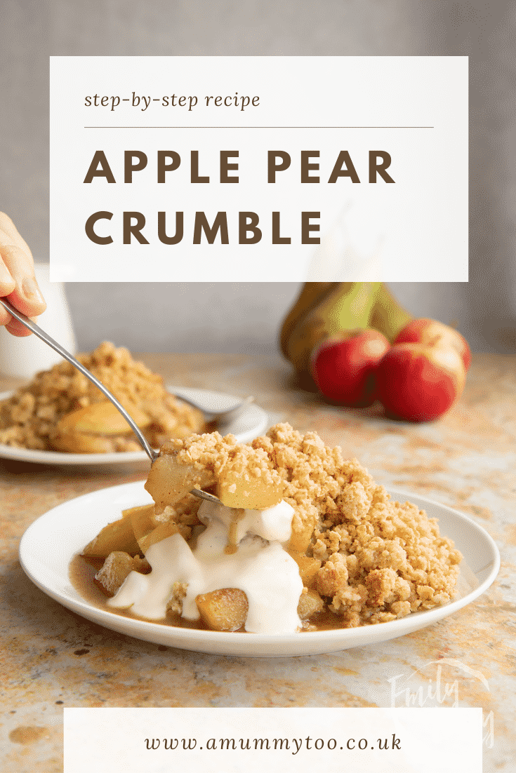 Apple pear crumble and custard served to a small white plate. A spoon delves in. Caption reads: Step-by-step recipe Apple pear crumble.
