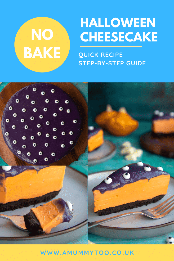 Collage of orange and strawberry Halloween cheesecake with an Oreo base. Caption reads: No bake Halloween cheesecake. Quick recipe. Step-by-step guide.