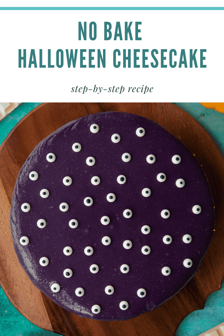 Orange and strawberry Halloween cheesecake decorated with candy eyes on a board. Caption reads: No bake Halloween cheesecake. Step-by-step recipe