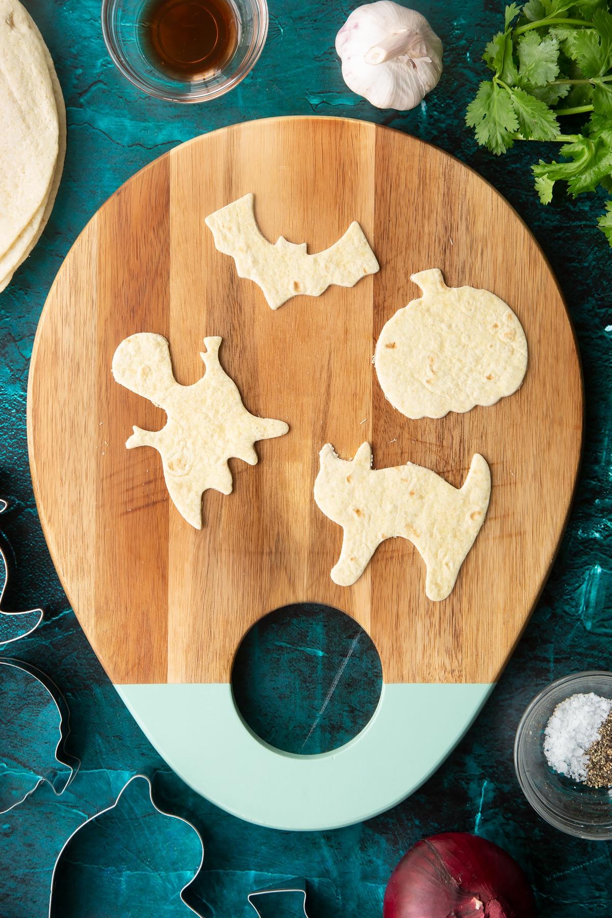 A soft tortilla cut into Halloween shapes.