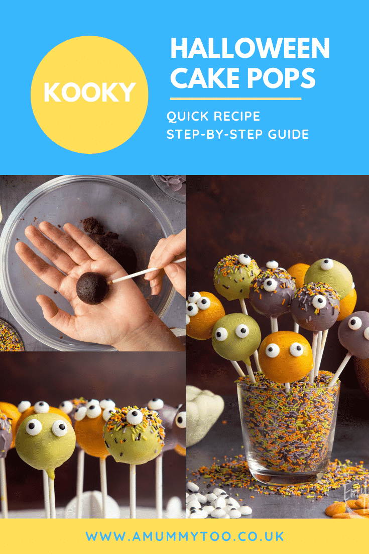 Collage of Halloween cake pops. Caption reads: Kooky Halloween cake pops. Quick recipe. Step-by-step guide.