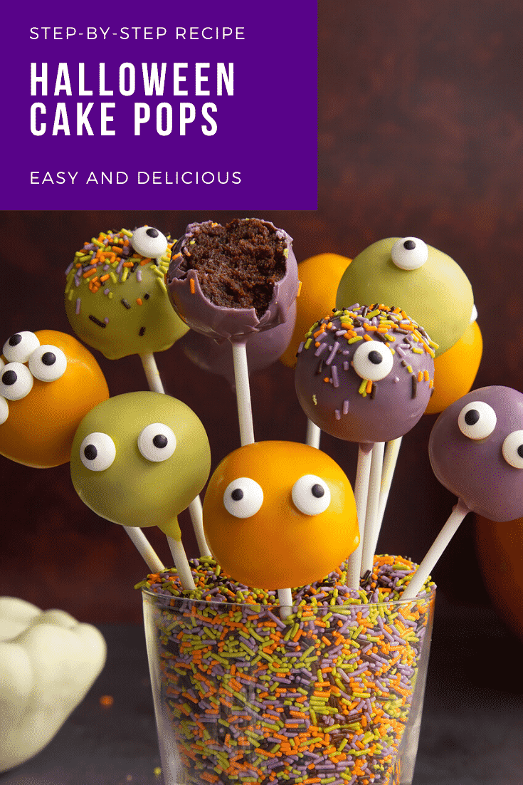 Halloween cake pops standing in a glass filled with Halloween sprinkles. One has been bitten. Caption reads: Step-by-step recipe Halloween cake pops. Easy and delicious.