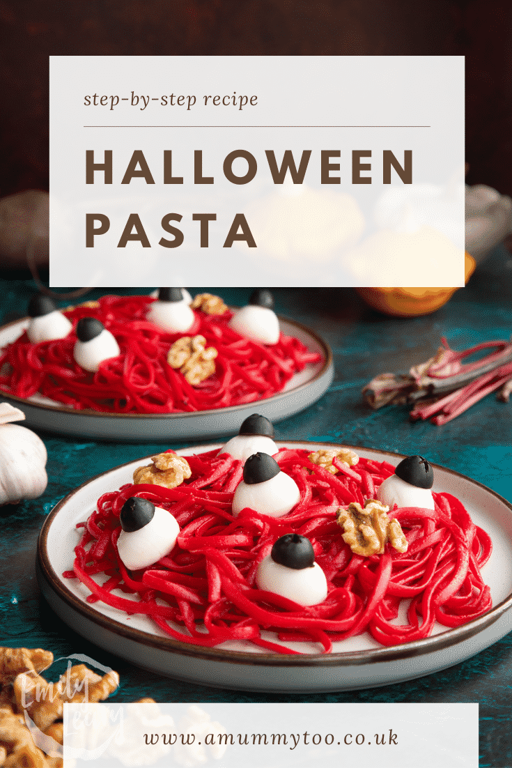 A plate with a beetroot Halloween pasta recipe, topped with mozzarella eyes and walnut brains. Caption reads: Step-by-step recipe. Halloween beetroot pasta.